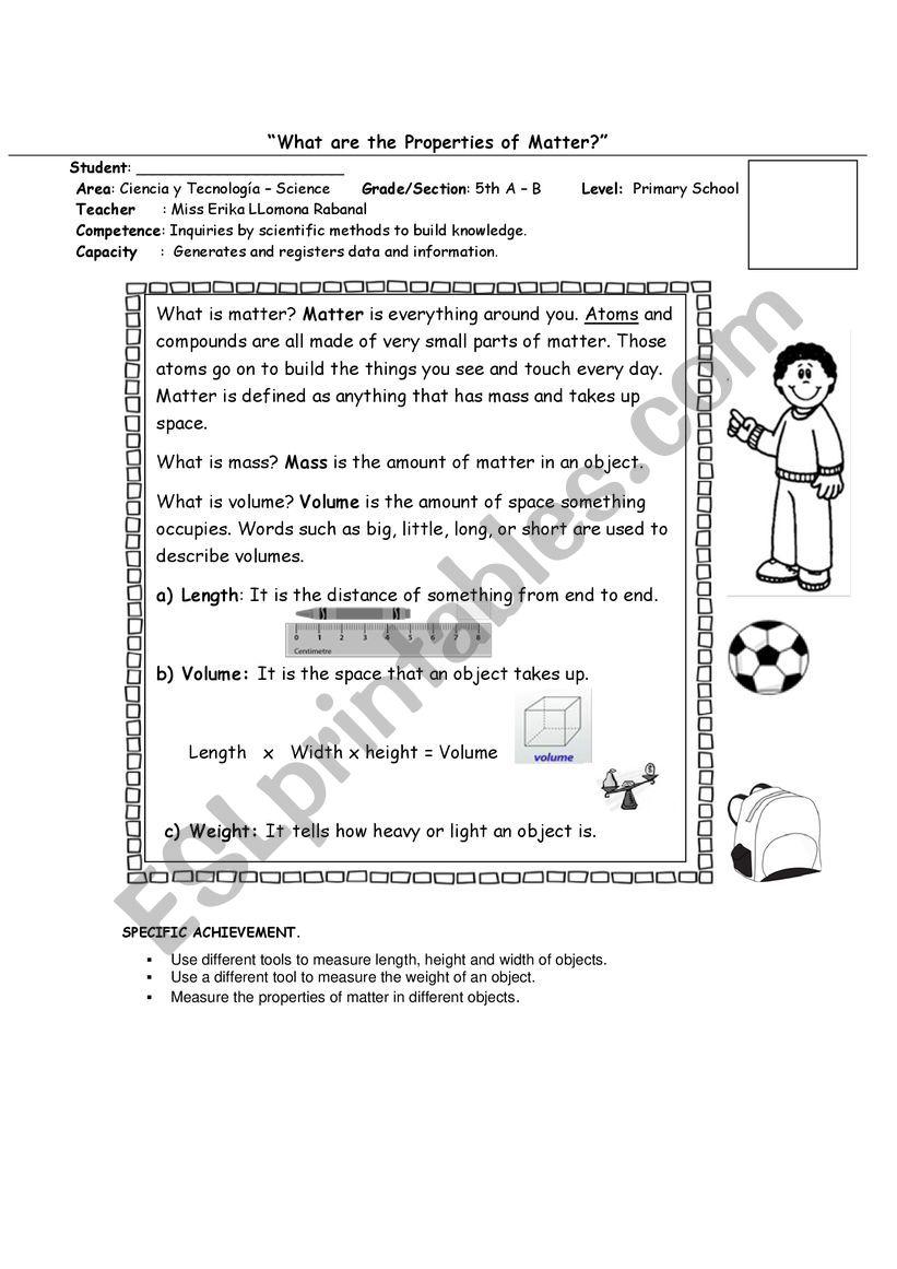 Matter Science lab worksheet