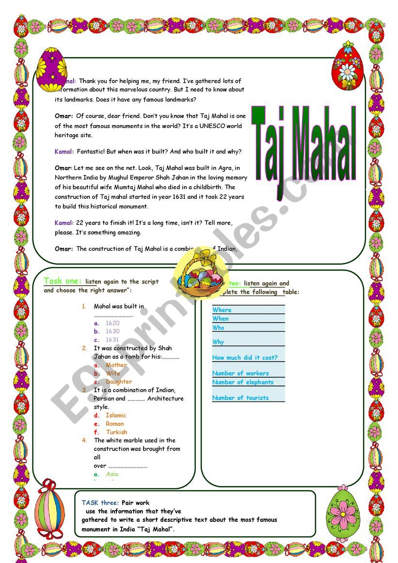 Taj Mahal  worksheet