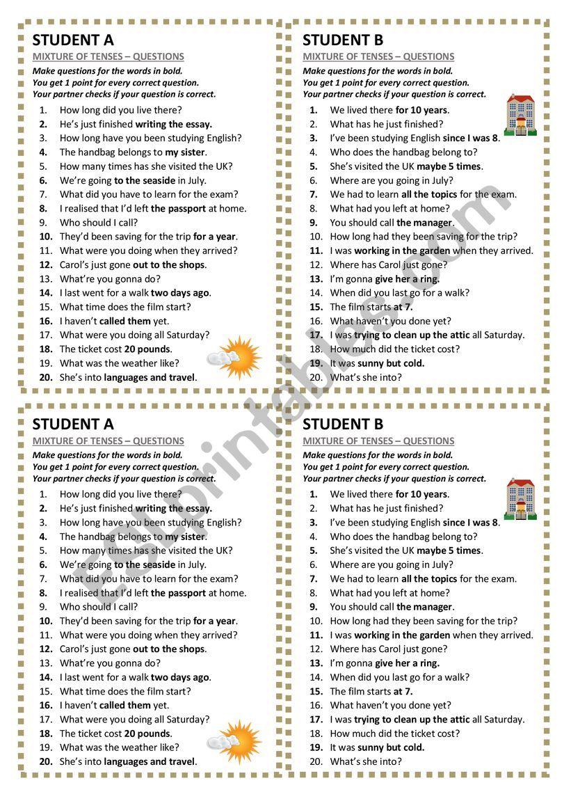 Tenses Mixture - questions worksheet