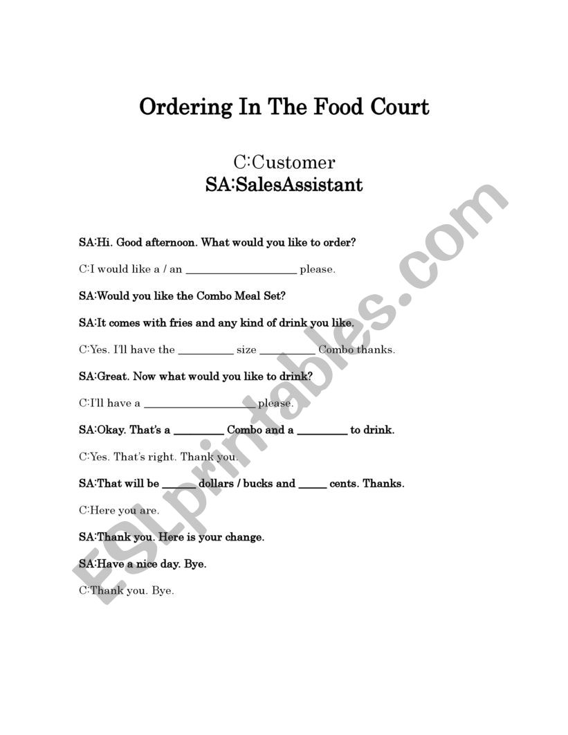 Ordering Food In A Food Court Or Fast Food Shop Role-Play Full Dialogue And Dialogue Boxes