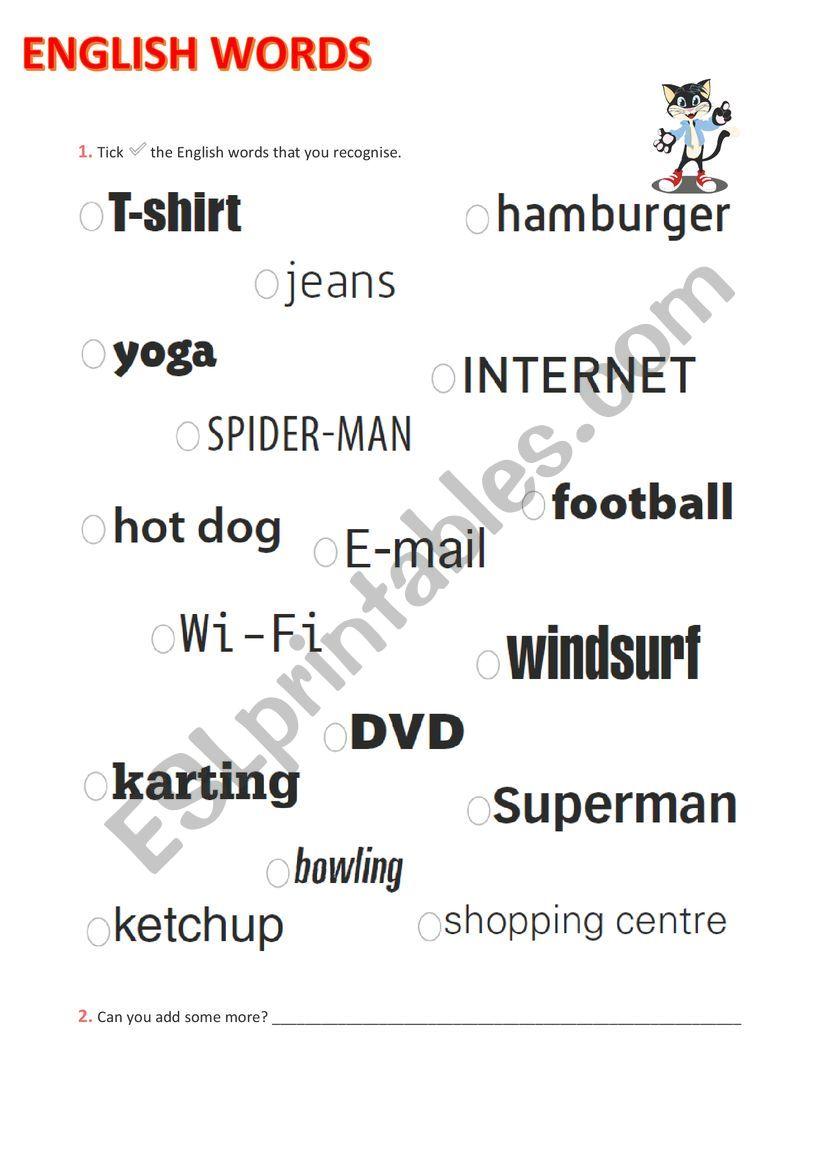 English words we use worksheet