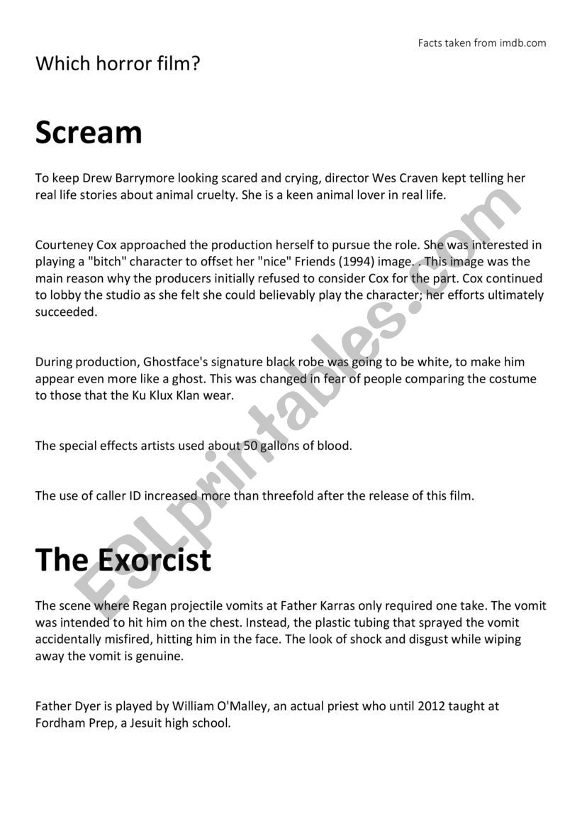 Which horror film? worksheet