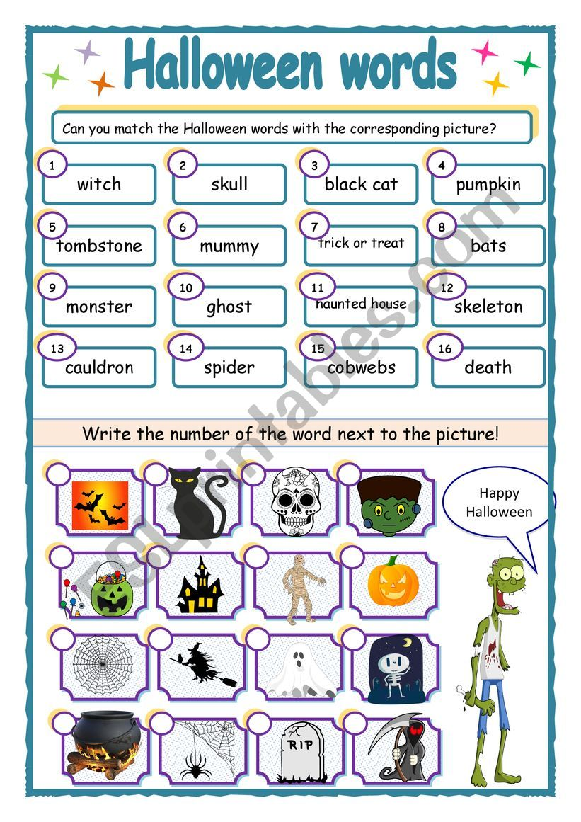 Halloween vocabulary match up worksheet