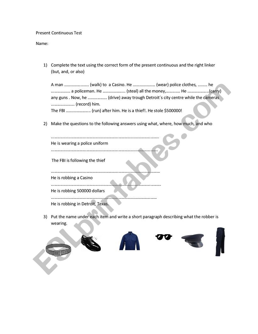Present Continuous test worksheet