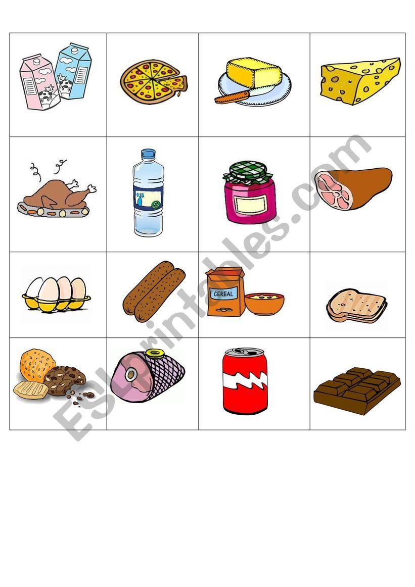 FOOD CARDS worksheet