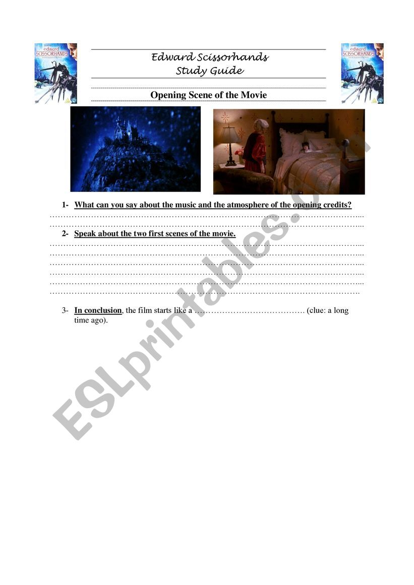 Edward Scissorhands intro (1) worksheet