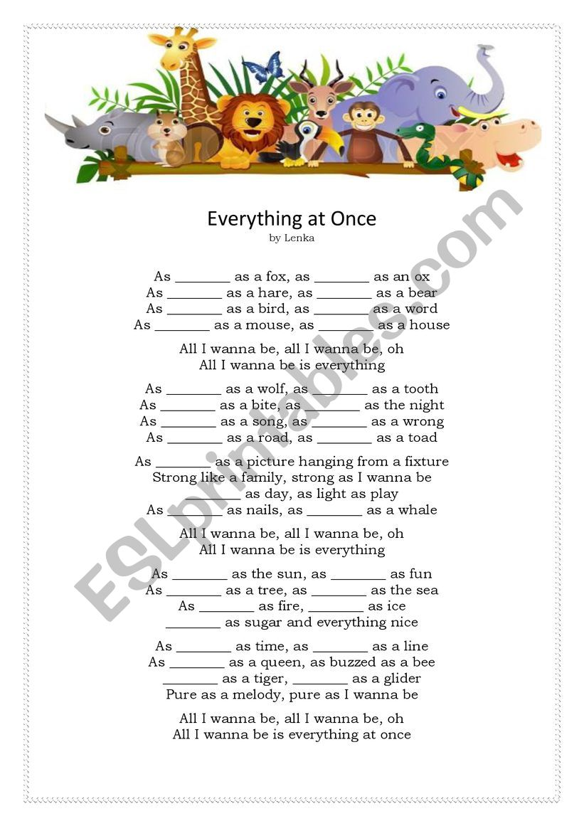 Everything at once by Lenka worksheet