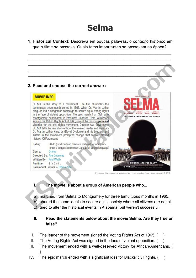 Selma - Movie worksheet