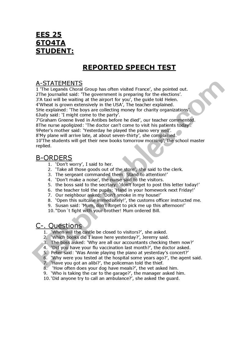 test worksheet