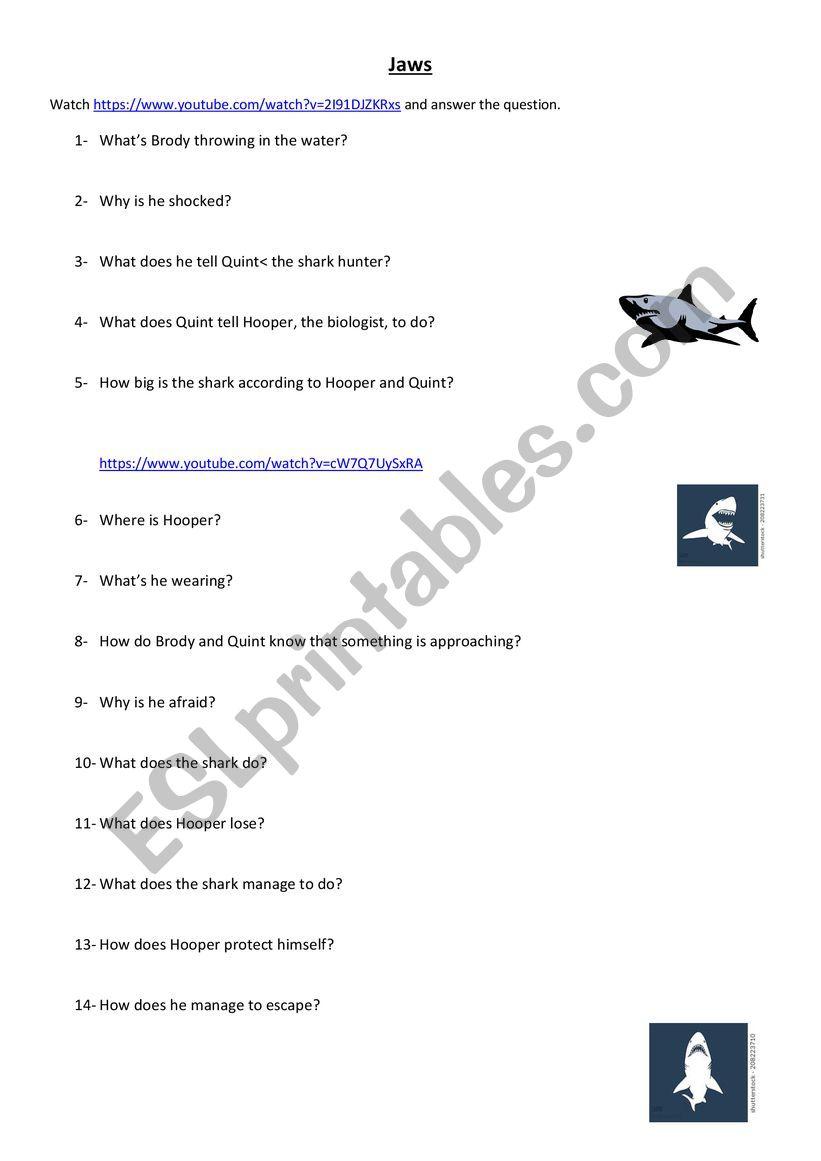 Jaws Clip worksheet