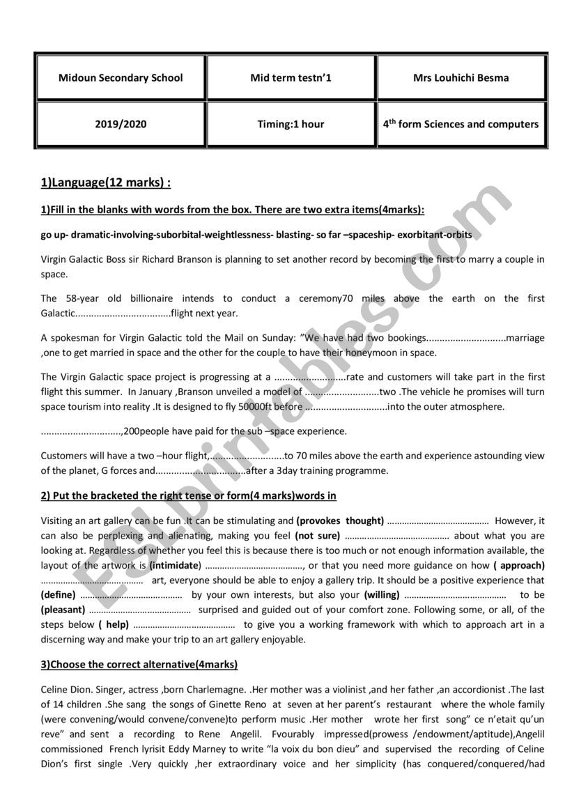 mid term test n1 4th form  worksheet