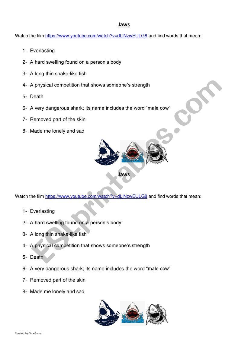 Jaws worksheet