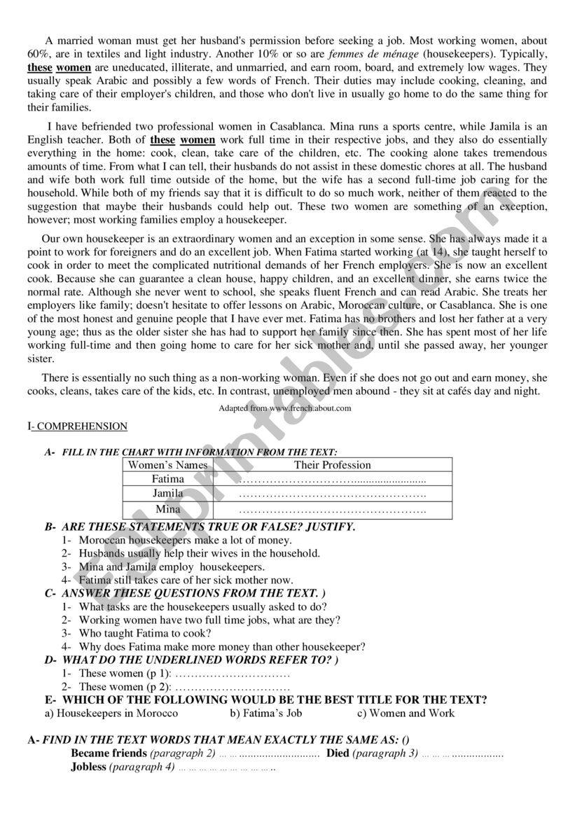 a married woman  worksheet