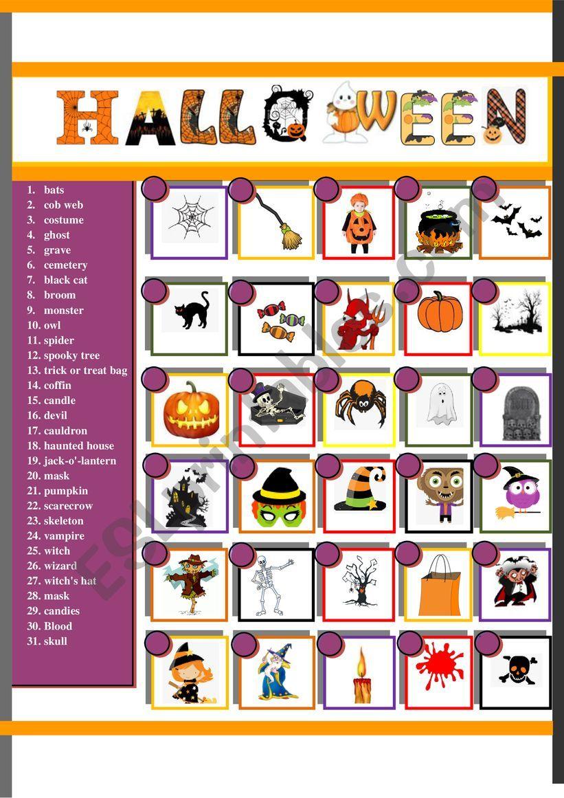 Halloween Pictionary worksheet