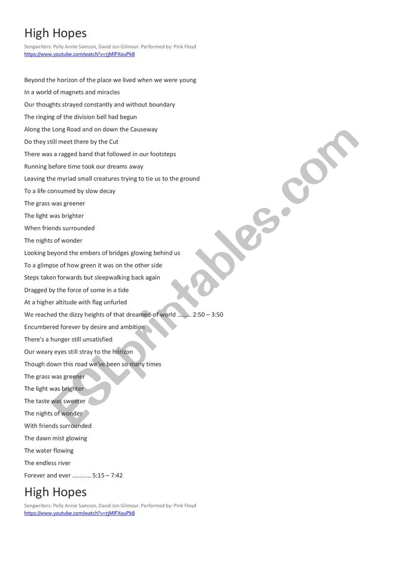 High Hopes by Pink Floyd Song Cloze and Worksheet