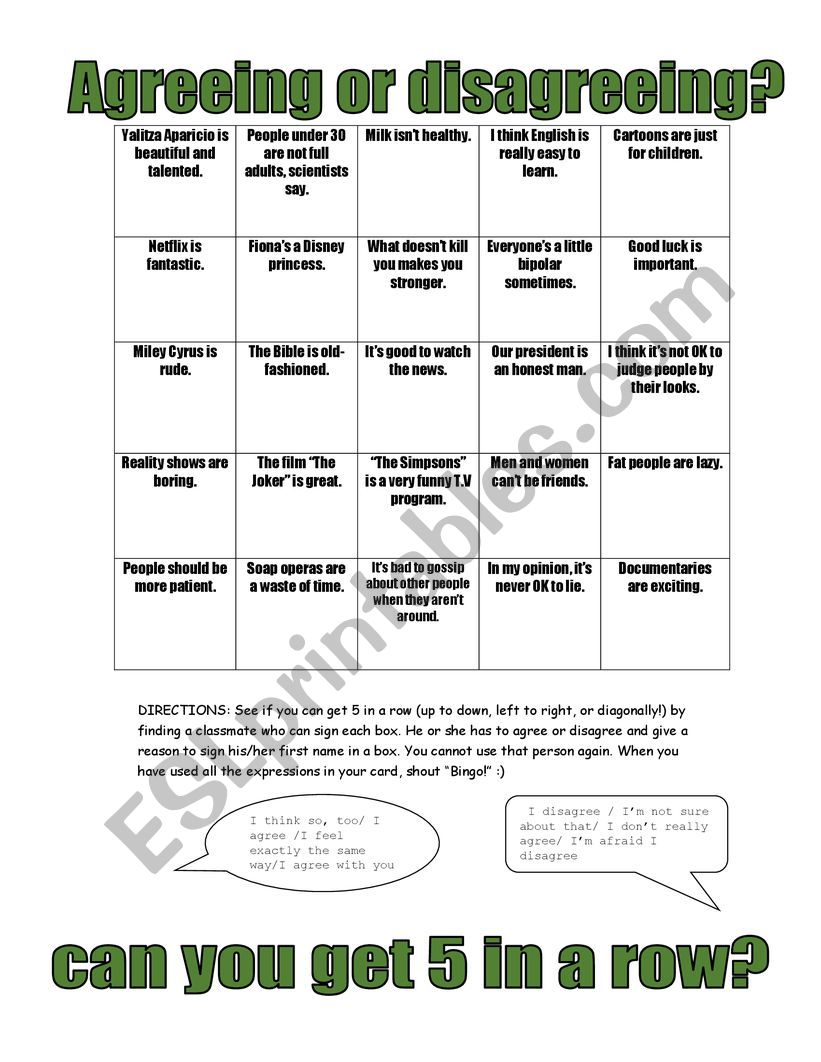 AGREEING OR DISAGREEING worksheet