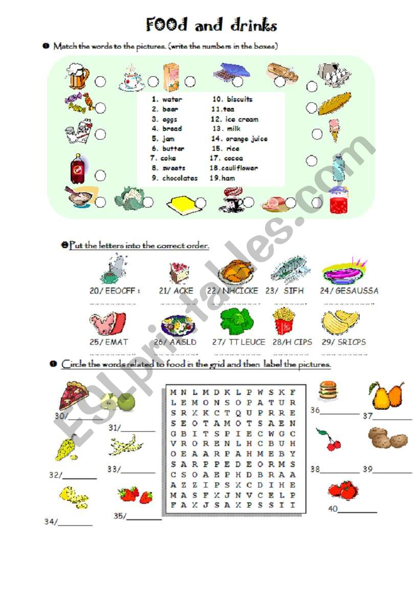 FOOD and DRINKS (40 words) vocabulary - ESL worksheet by loic