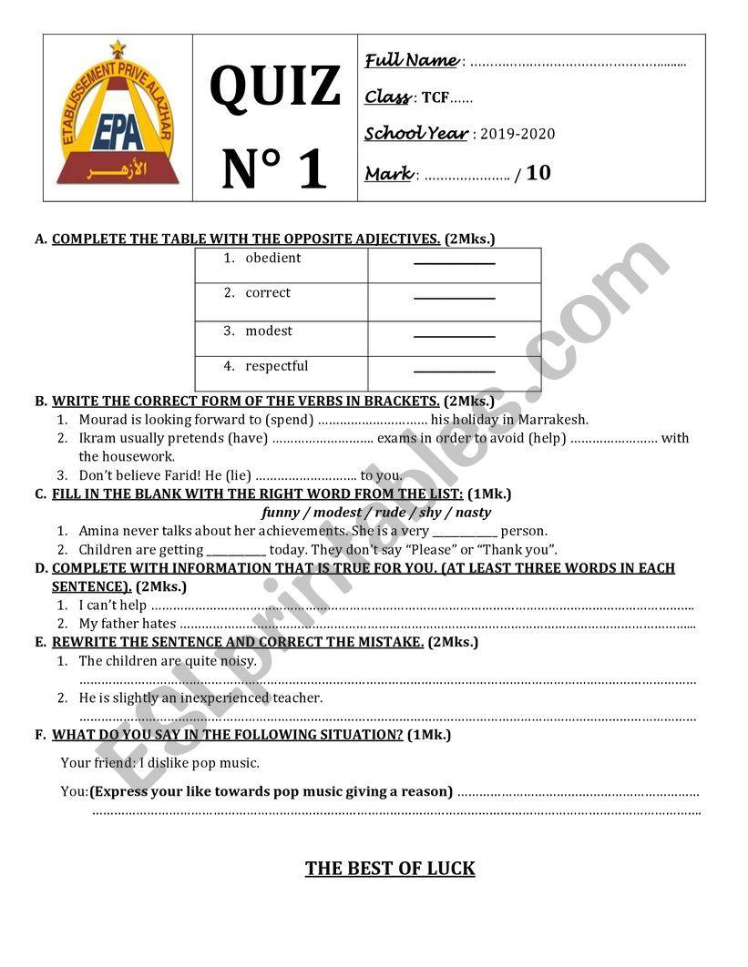 Quiz N 1 common Core Textbook Solution pre-intermediate
