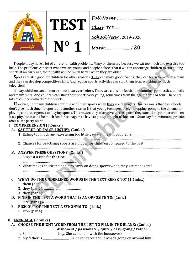 TEST 1 COMMON CORE TEXTBOOK  SOLUTIONS PRE-INTERMEDIATE