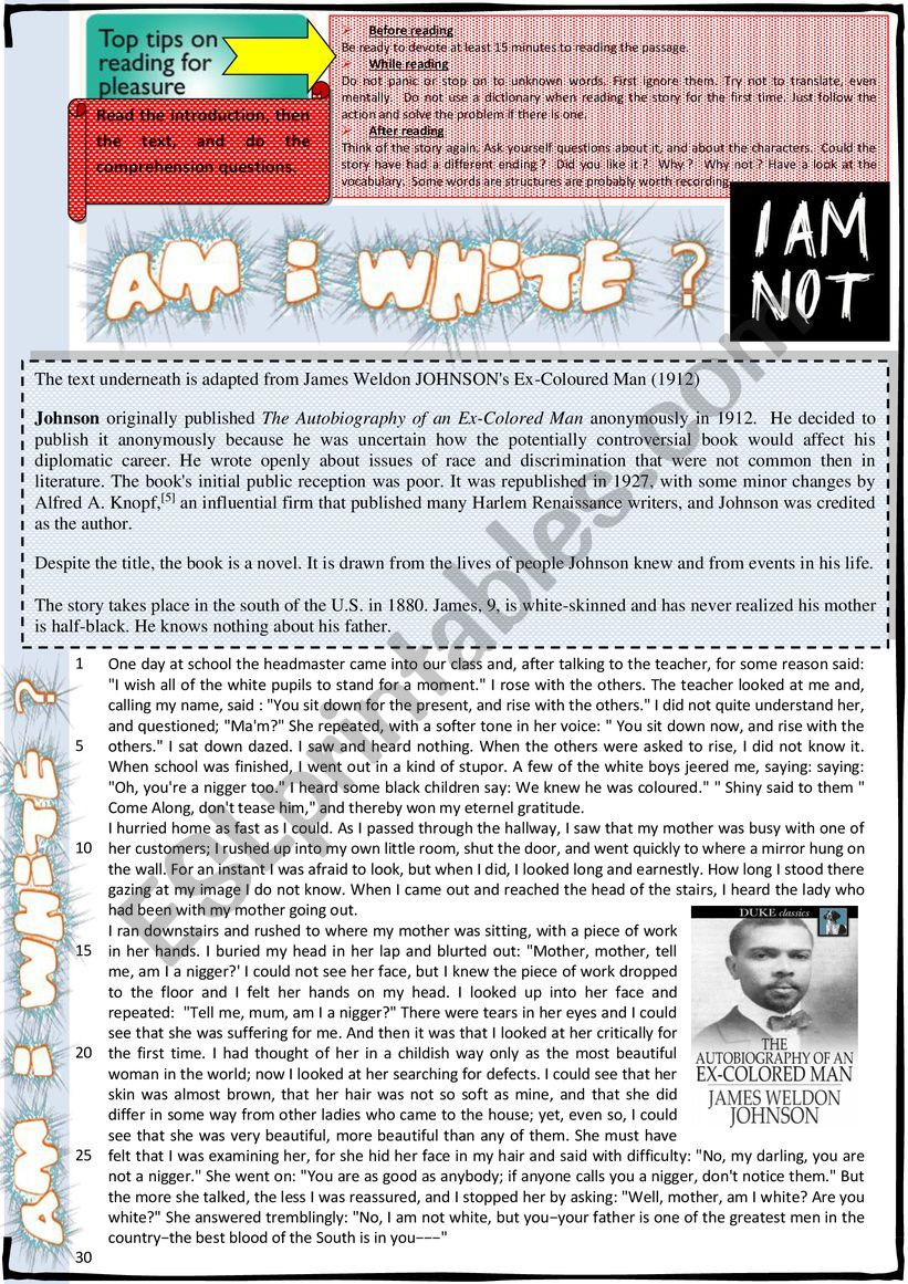 Am I white ? - Reading Comprehension + KEY