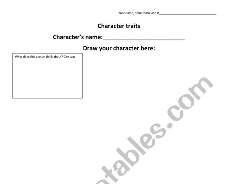 Character Trait Worksheet worksheet