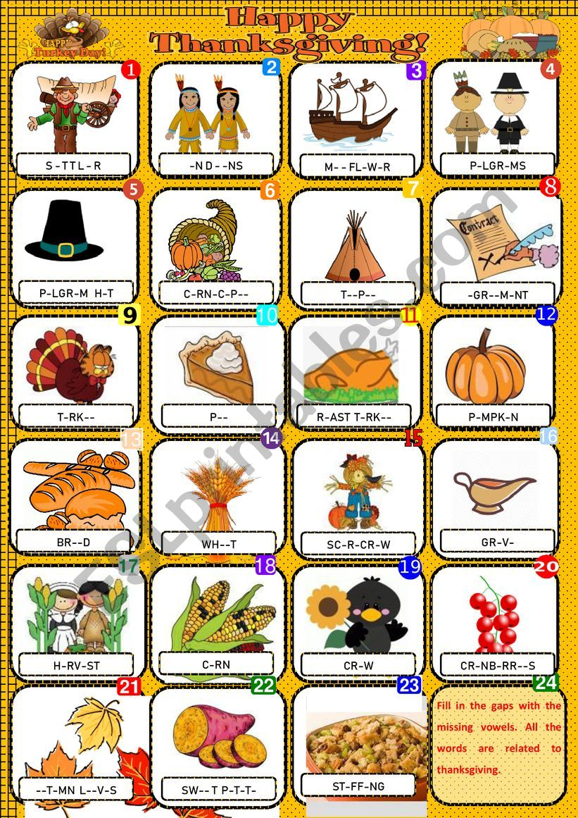 Happy Thanksgiving - Pictionary + KEY