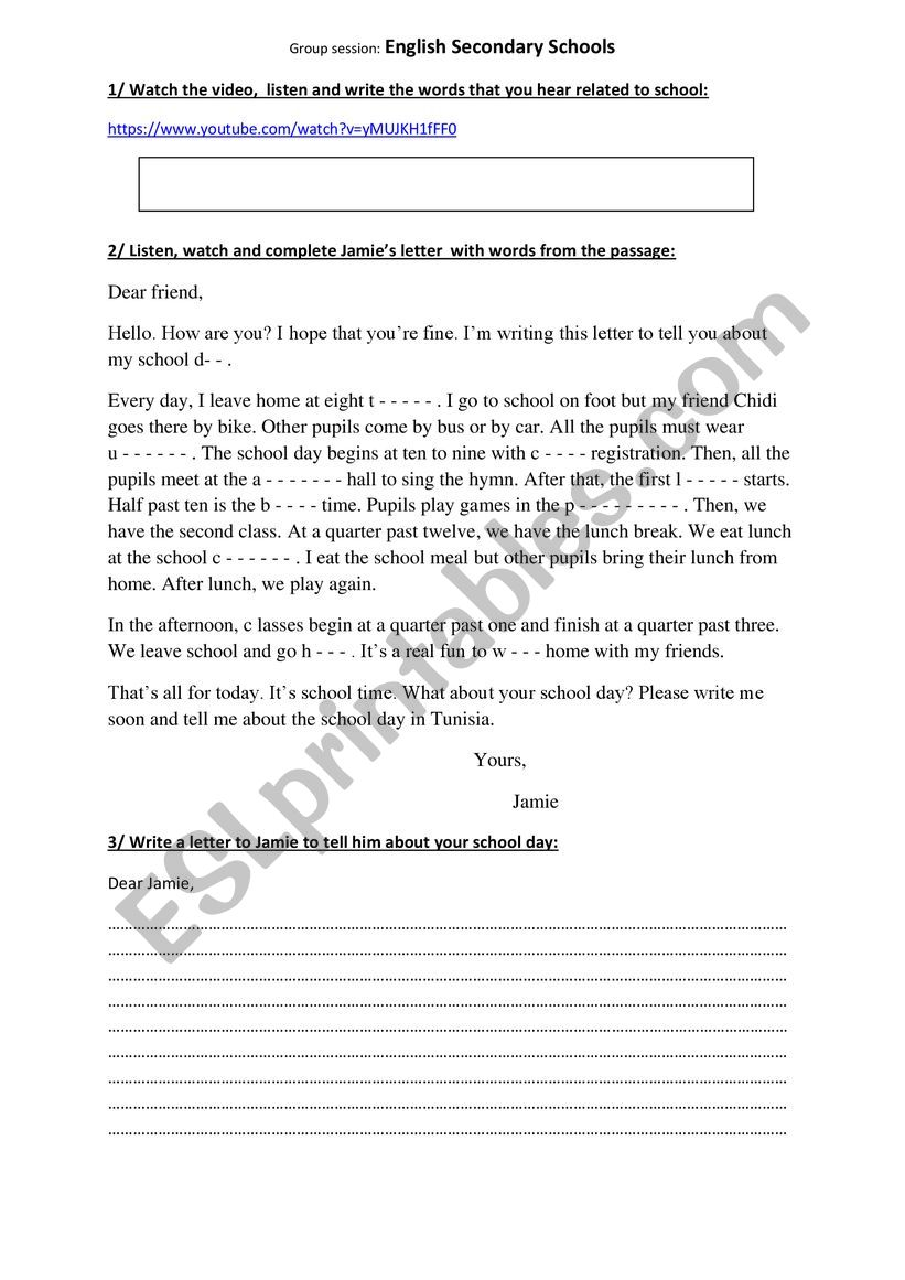english secondary schools worksheet
