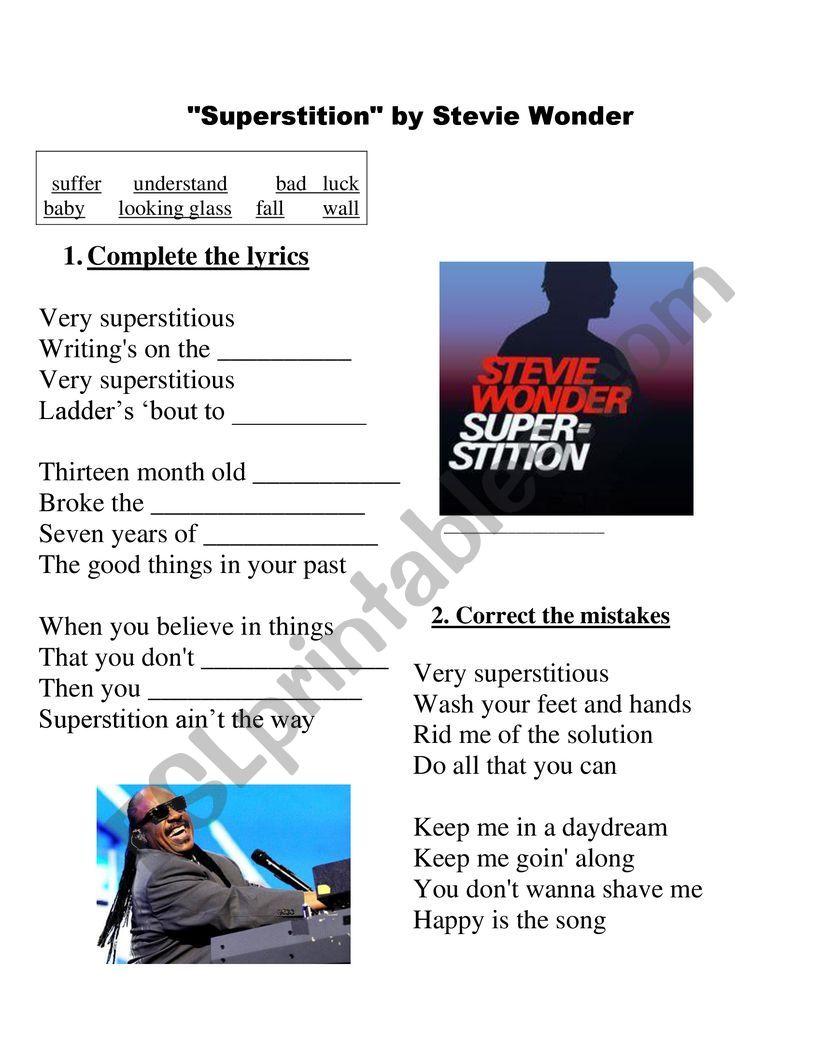 Superstitious - Stevie Wonder worksheet