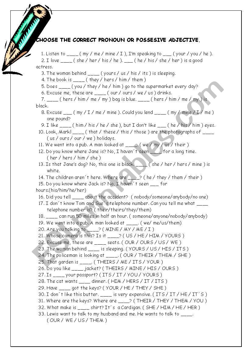 pronoun multiple choice worksheet