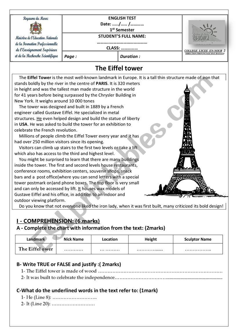 first term test worksheet
