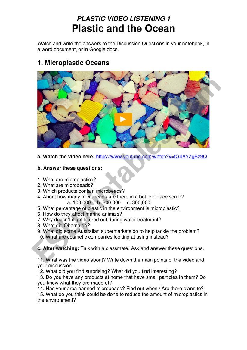 Plastic Pollution 1 - Plastic and The Ocean - Microplastics, Microbeads with Online Quiz Links