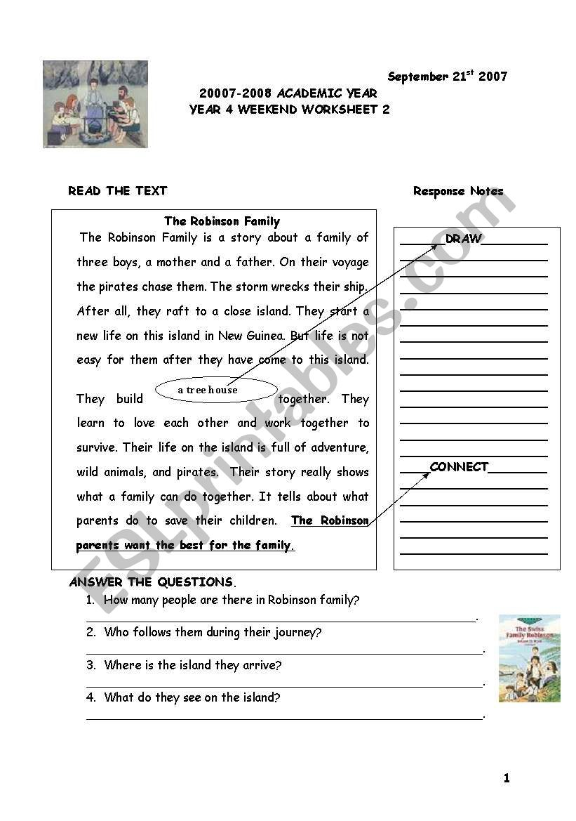 story : simple present tense robinson family - ESL worksheet by
