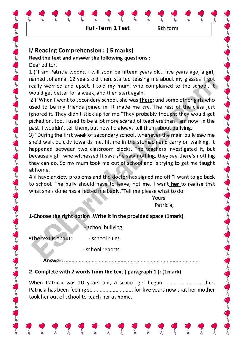 Full Term 1 Test 9th form worksheet