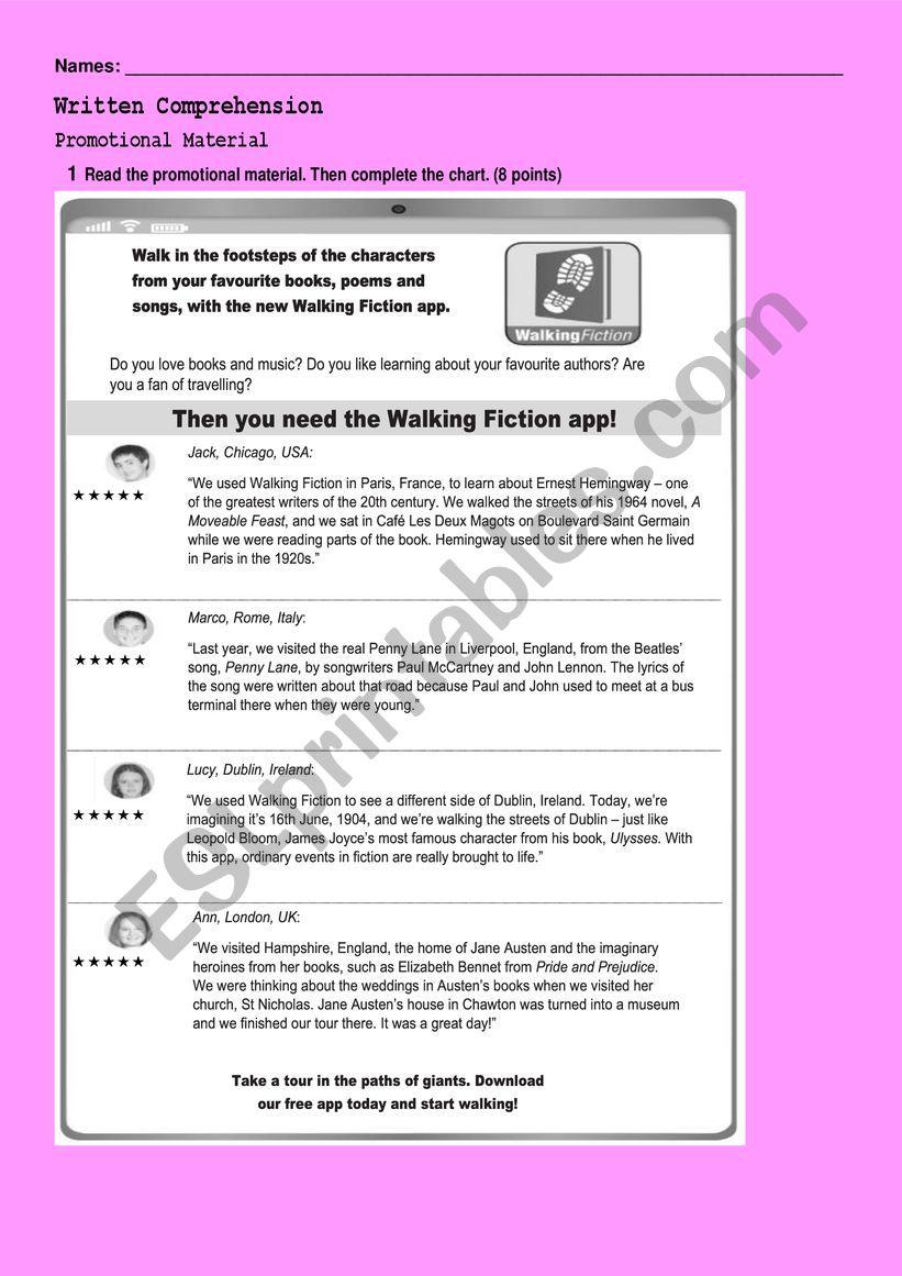 Reading activities worksheet