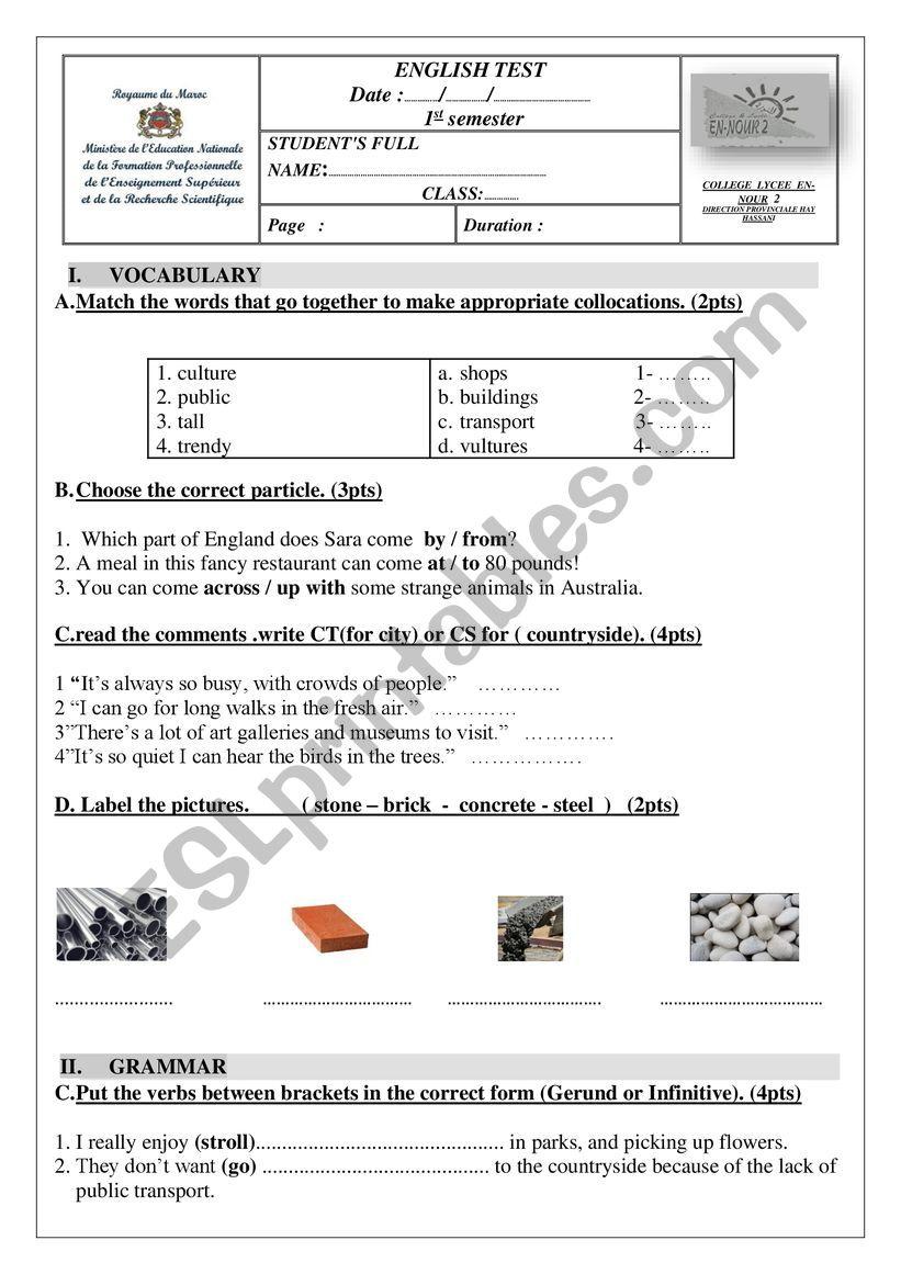 grammar and vocabulary test worksheet