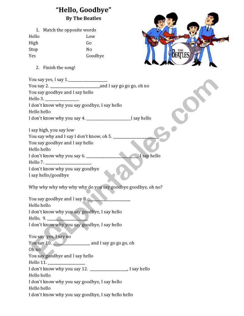 Hello Goodbye Worksheet worksheet