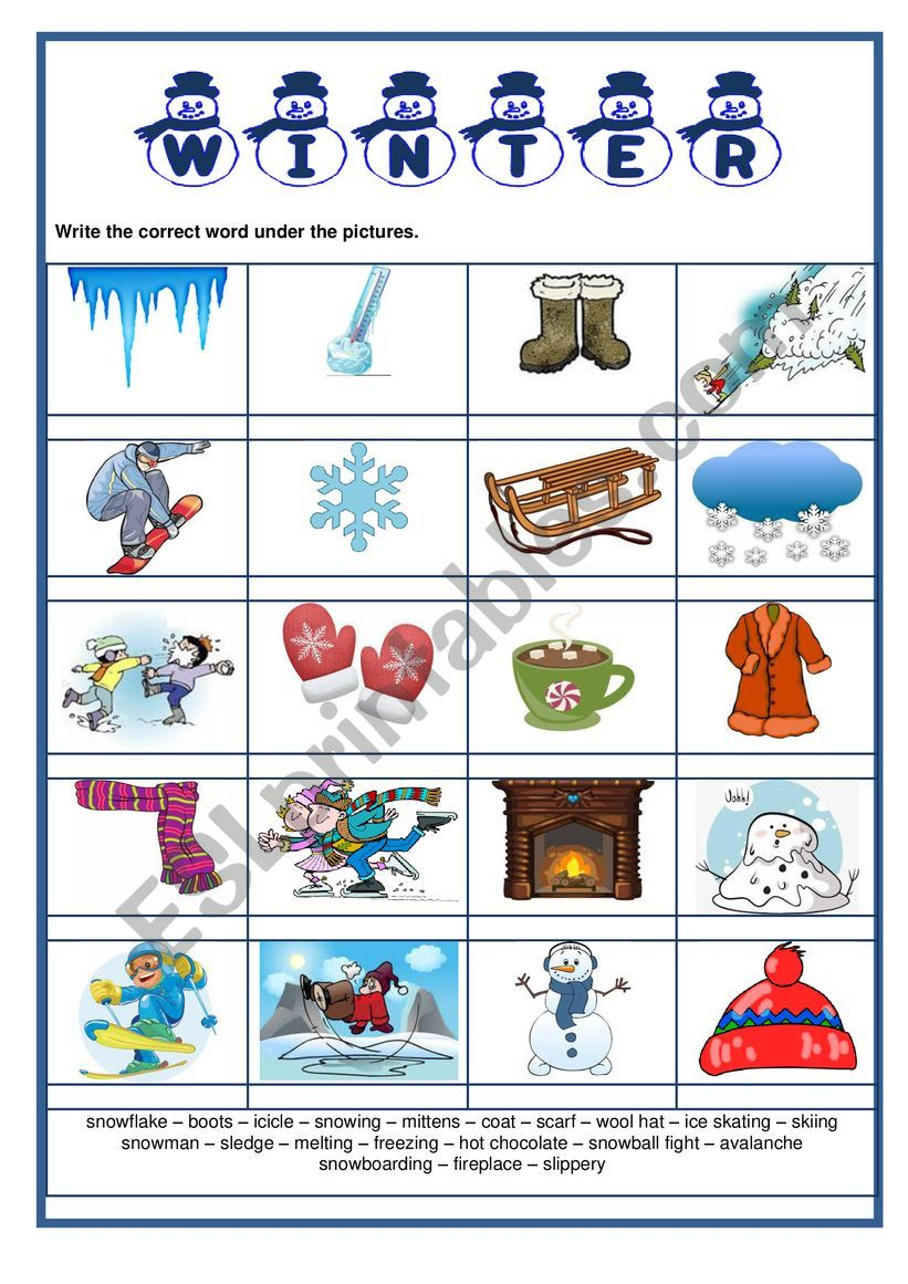 Pictionary - Winter worksheet