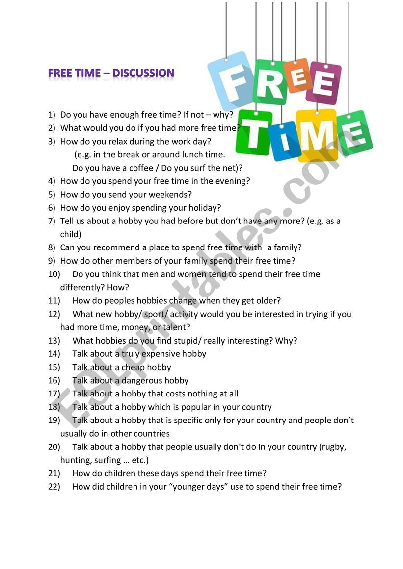 free time discussion worksheet