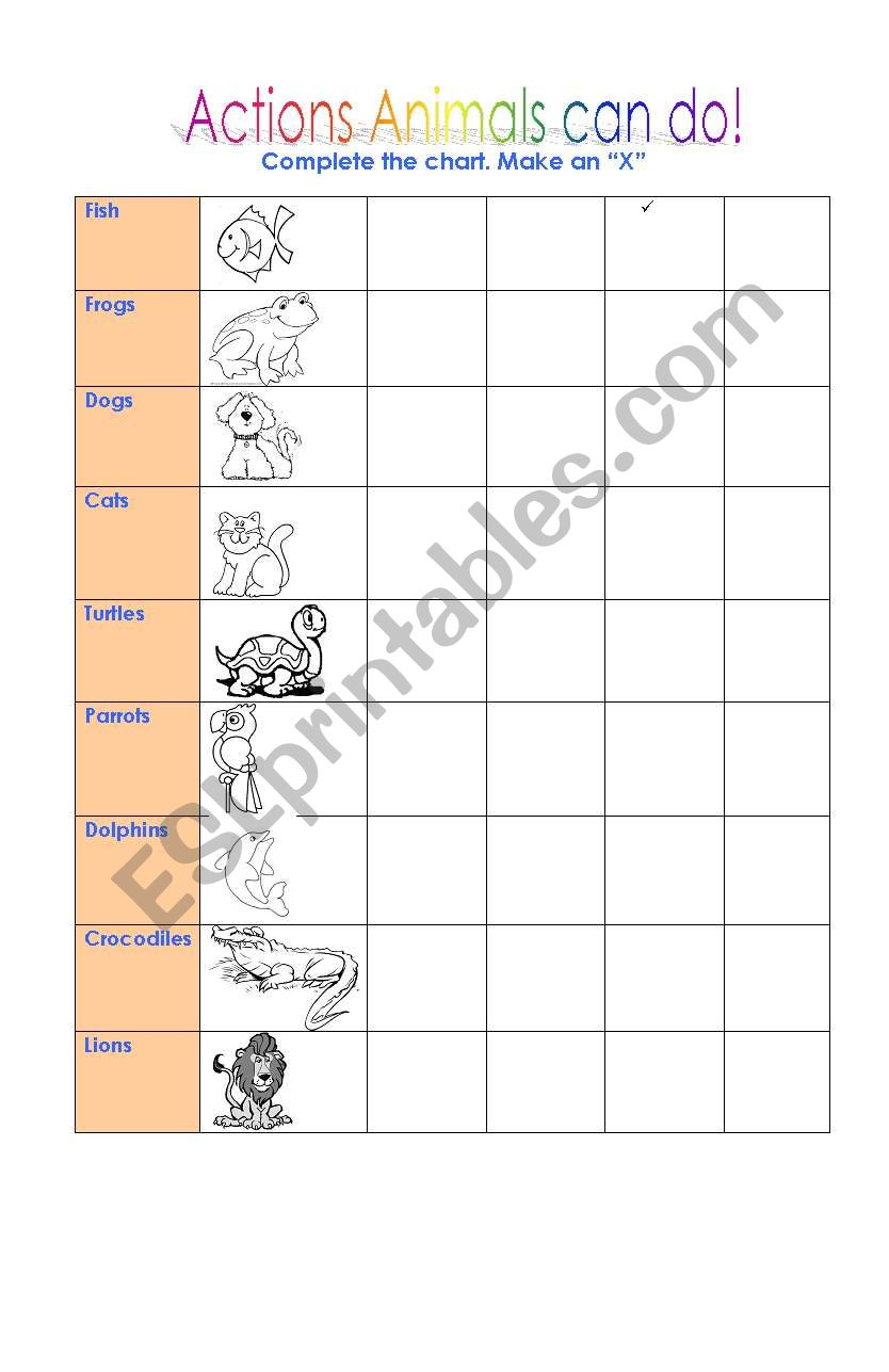 Actions animals can do worksheet