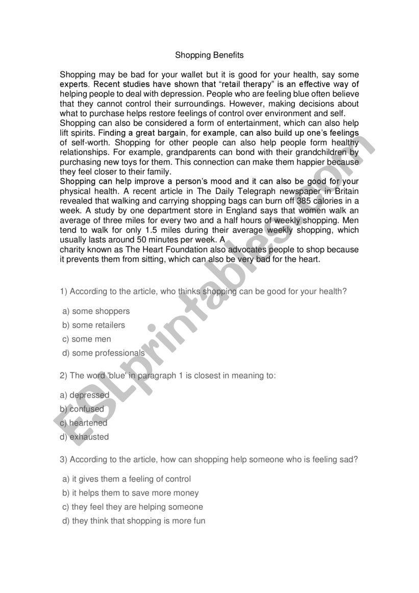 shopping benefits worksheet