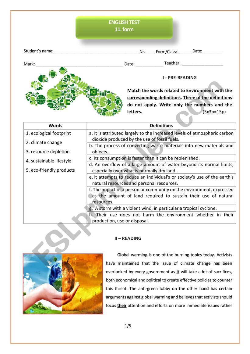 11th form test on environment worksheet