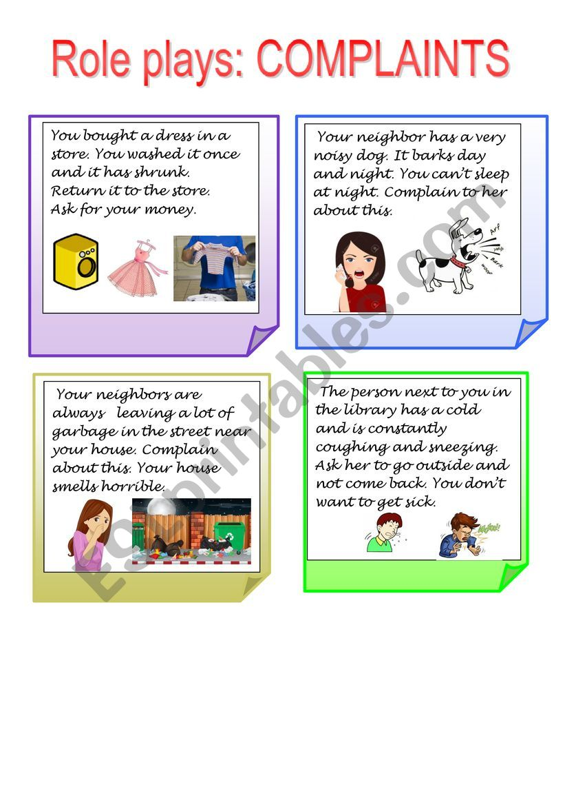 role plays worksheet