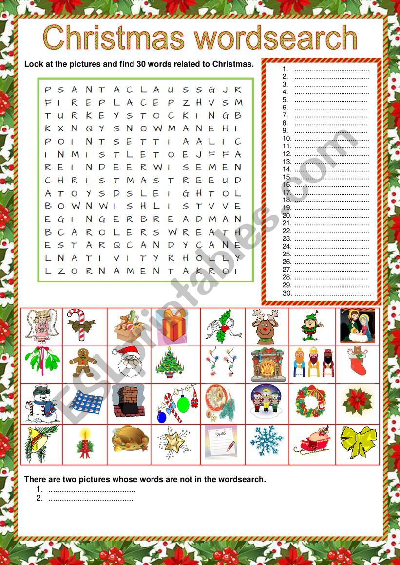 Wordsearch - Christmas - ESL worksheet
