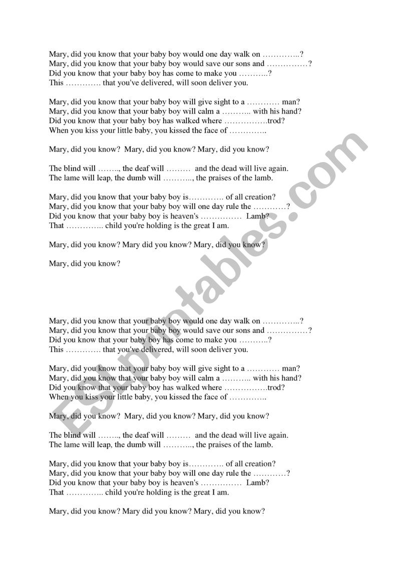 Mary did you know? - lyrics to complete - ESL worksheet by Ola3105