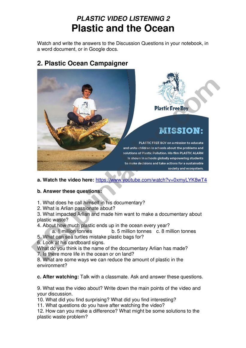Plastic Pollution 2 - Plastic and The Ocean - Plastic Free Boy Environmental Campaigner with Online Quiz Links