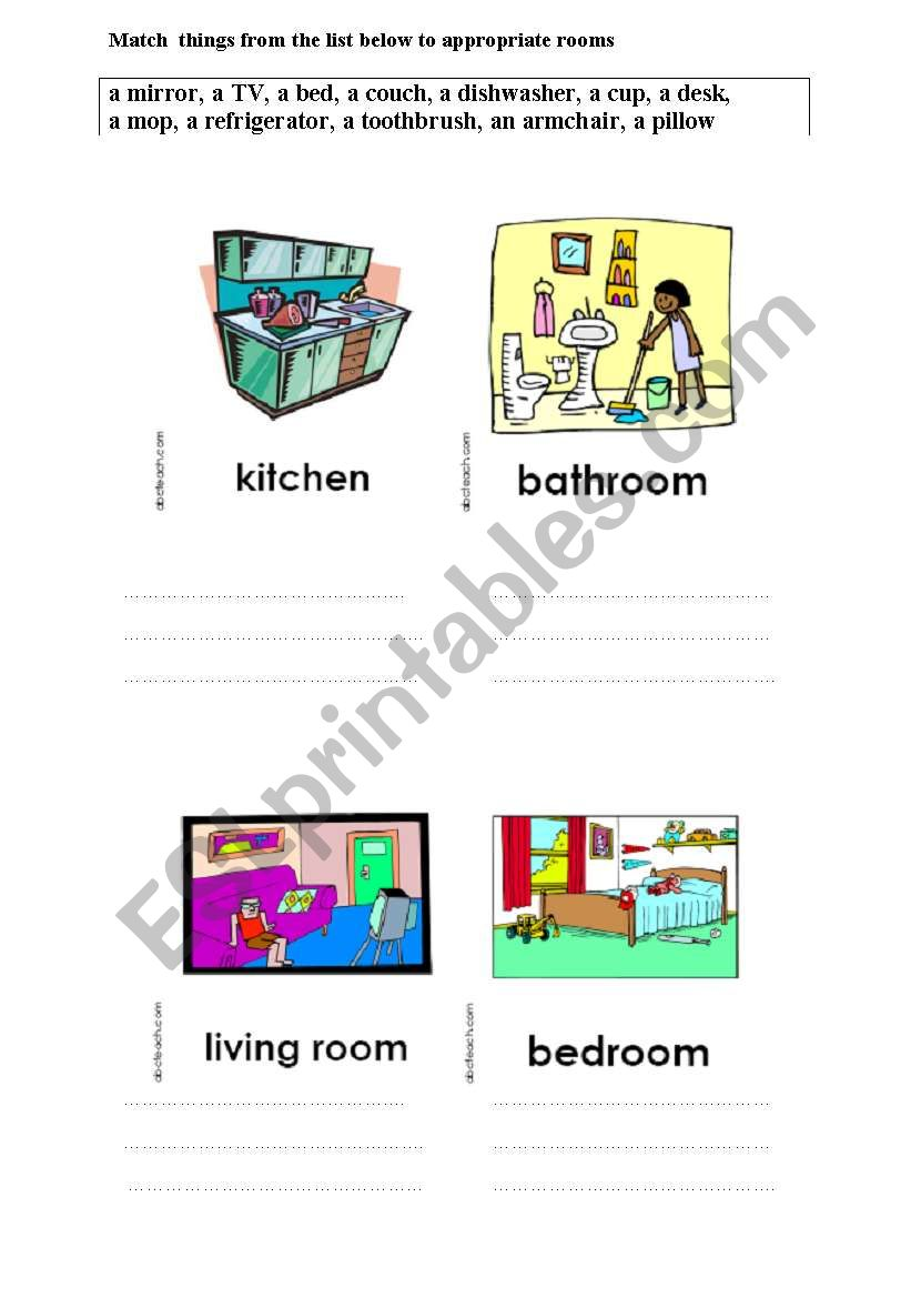 Match things to appropriate rooms