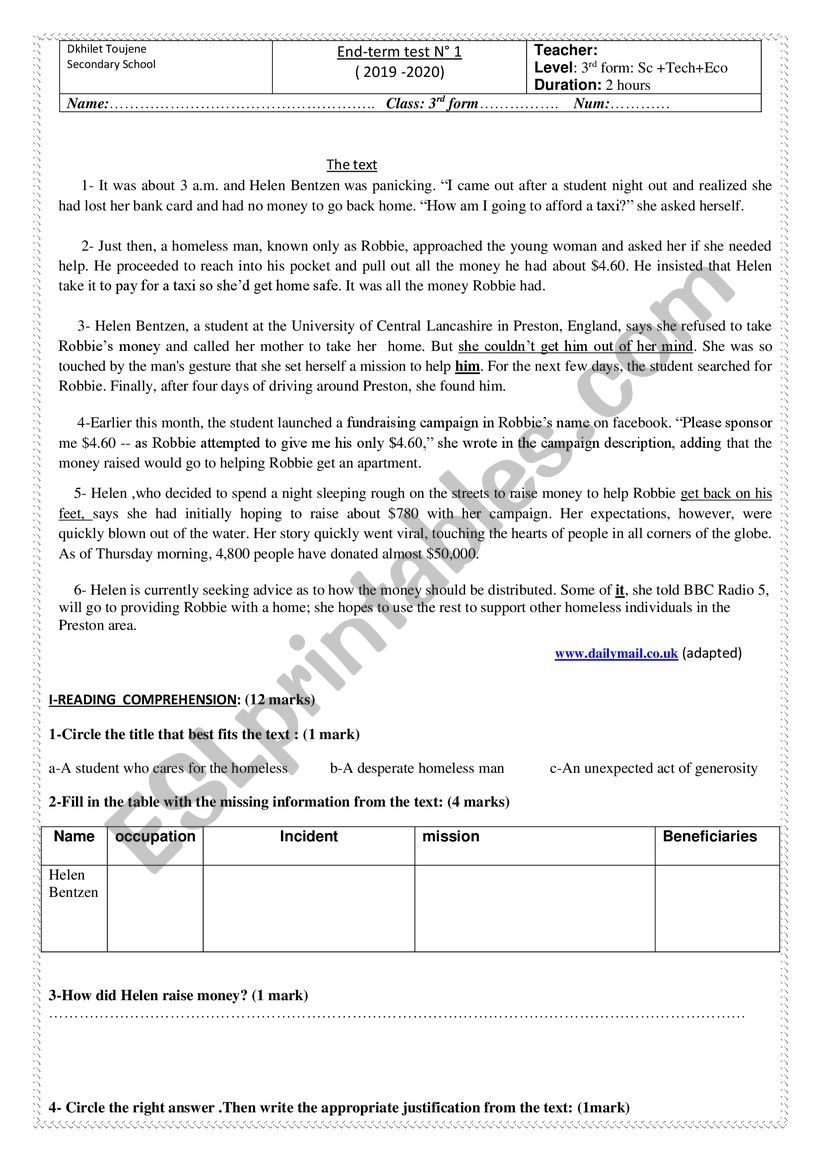 end of term test 1 3rd form scientific branches