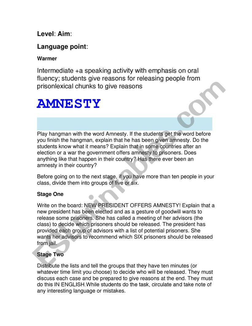 Amnesty worksheet