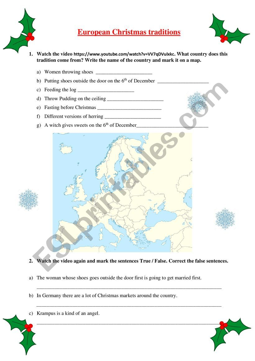 European Christmas traditions video activity