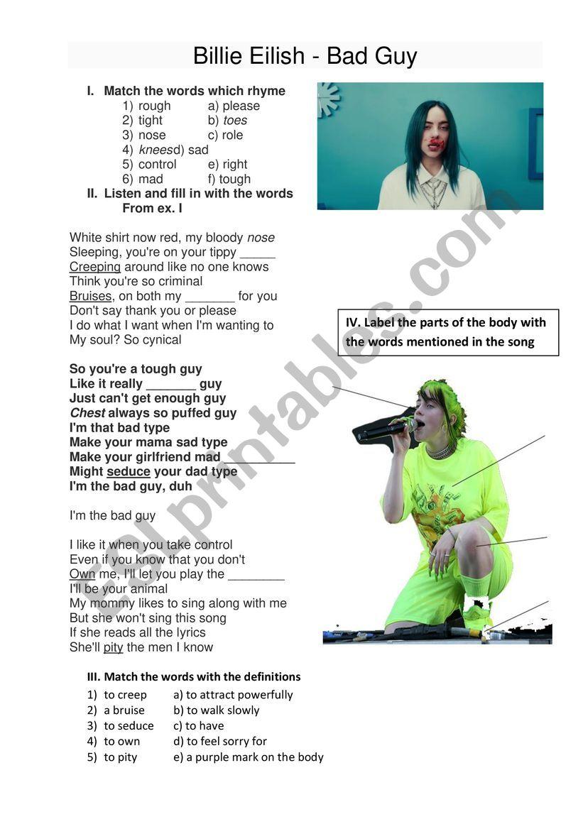 Bad Guy Billie Eilish Song Esl Worksheet By Izabuv